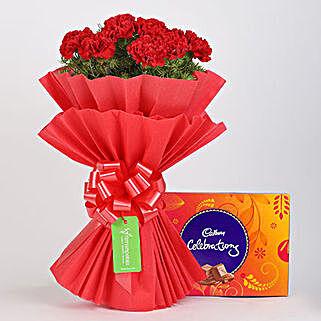 12 Vibrant Red Carnations & Cadbury Celebrations: Valentines Day Flowers & Chocolates