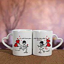 2 Ceramic White Mugs: Send Valentine Gifts to Faridabad