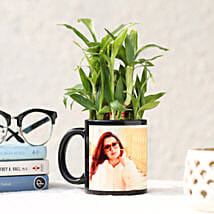 2 Layer Bamboo in Personalised Black Ceramic Mug: Same Day Delivery Gifts