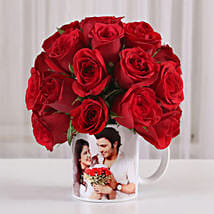 20 Red Roses in White Personalised Mug: Roses for birthday