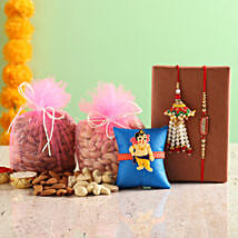 3 Rakhi Set With Dry Fruits: Bhaiya Bhabhi Rakhi Set