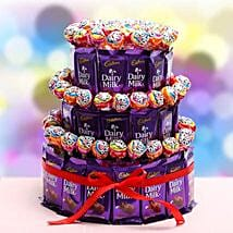 3 Tier Choco Pop Cake: Send Thank You Chocolates