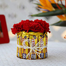 5 Star & Carnations Glass Arrangement: Flowers N Chocolates - birthday