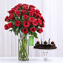50 Red Roses & Truffle Cake Combo: Flowers & Cakes for Him