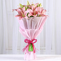 Admirable Pink Asiatic Lilies Bunch: Send Lilies