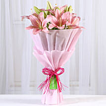 Admirable Pink Asiatic Lilies Bunch: Send Flowers