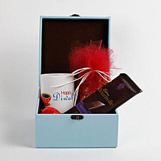 Almonds Diwali Mug & Chocolates Leather Box: Diwali Gifts for Parents