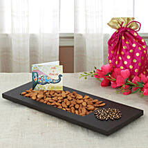 Almonds In Wooden Tray: Send Bhai Dooj Gifts to Indore