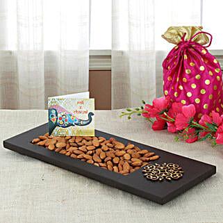 Almonds In Wooden Tray: Bhai Dooj Gifts Faridabad