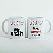 Always Right Couple Mugs White: Send Valentine Gifts to Faridabad