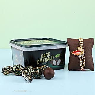 Amul Dark Emerald & Rakhi Combo: Rakhi with Chocolates