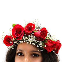 Angelic Grace Red Rose Tiara: Floral Jewellery