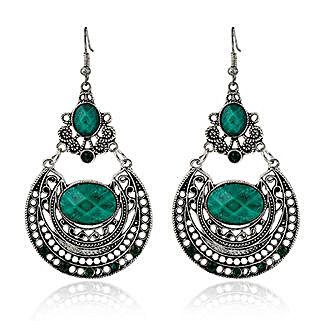Antique Silver Plated Green Earrings: Earrings For Women