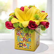 Asiatic Lilies Arrangement: Birthday Gifts for Boyfriend
