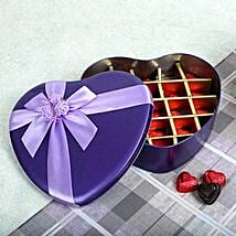 Assorted Chocolates Purple Heart Box: Gold Rakhi