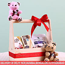 Assorted Wooden Gift Basket: Gift Hampers for New Born