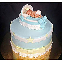 Baby In The Crib Fondant Cake: Cakes Welcome New Born