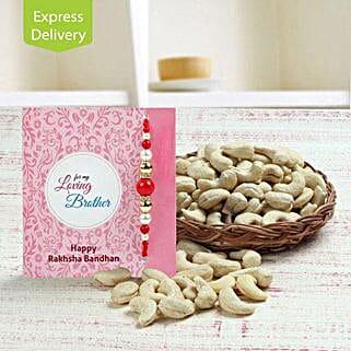 Basket full of cashews: Send Designer Rakhi