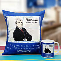 Be the Boss Personalized Cushion and Mug: Send Personalised Cushions - Love