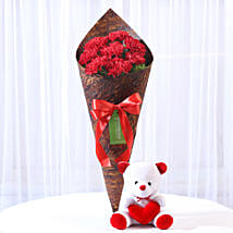 Beautiful 8 Red Carnations & Teddy Bear: Flowers & Teddy Bears for Birthday
