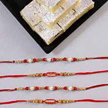 Beautiful Rakhi Set & Pista Burfi: Send Rakhi With Sweets to Ludhiana