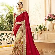 Beige Faux Georgette Embroidered Wedding Saree: Apparel Gifts