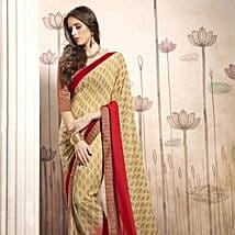 Beige Georgette Casual Saree with Multicoloured Blouse: Apparel Gifts