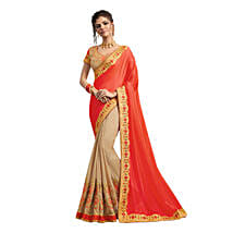 Beige & Orange Georgette Saree: