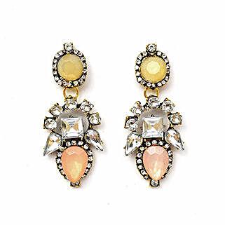 Beige Sparkling Stone Earrings: Earrings For Women