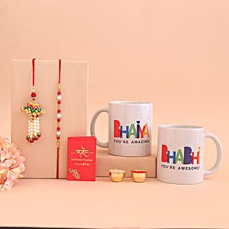 Bhaiya & Bhabhi Mugs With Lumba Rakhi Set:
