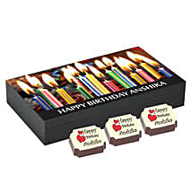 Birthday Gift Box- 6 Personalised Chocolates: Personalised Chocolates for Her