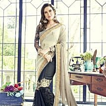 Black and Grey Contrasting Party Wearing Embroidered Saree: Apparel Gifts