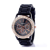 Black Diamante Watch For Women: Watches