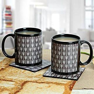 Black Duo Mugs With Coasters: Fathers Day Mugs