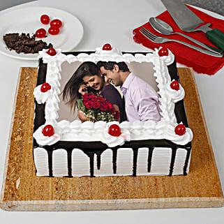 Black Forest Photo Cake- Square: Photo Cakes to Delhi