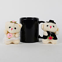 Black Mug & Teddy Bears Combo: Send Soft Toys