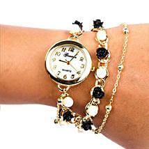 Black N White Pearl Watch For Women: Accessories