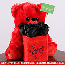 Black Roses & Teddy Bear Combo: Send Soft toys to Thane
