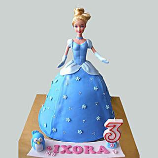 Blue Fondant Barbie Cake: Cinderella Cakes