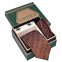 Blue N Brown Tie Set: Mens Accessories