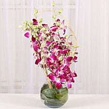 Blue Orchids Vase Arrangement: Send Rakhi With Kurtas