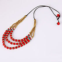 Bohemian Style Red N Turquoise Necklace: Send Necklaces and Pendants