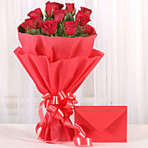 Bouquet N Greeting Card: Gifts for Rose Day