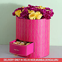 Box Of Roses & Carnations With Chocolates: