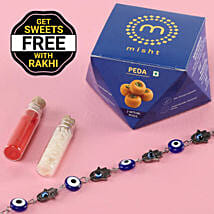 Bracelet Evil Eye Rakhi With Free Peda Box: Send Rakhi to Hindupur