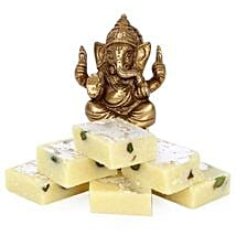 Brass Ganesha With Pista Burfi: Send Diwali Gifts to Meerut
