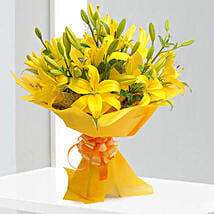 Bright Yellow Asiatic Lilies: Karwa Chauth Gifts Surat