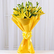 Bright Yellow Asiatic Lilies: Karwa Chauth Gifts Mangalore