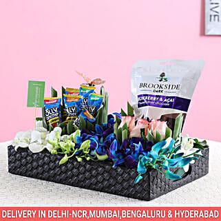 Brookside Chocolates & Flowers Combo: House Warming Gift Baskets