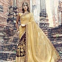 Brown and Yellow Party Wear Saree: Karwa Chauth Gifts to Jalandhar